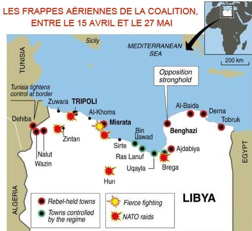 Les frappes aériennes de la Coalition, entre le 15 avril et le 27 mai